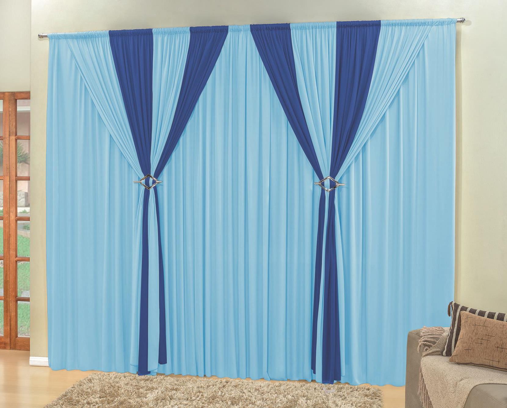 Cortina Rafaela 3m Sala Quarto De Ibitinga Var O Simples -> Cortinas Para Sala Azul